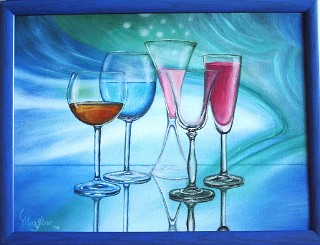 wine glasses on abstract background