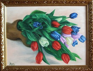 Tulips in a wooden shoe